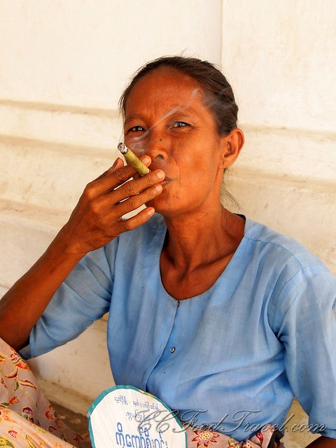 Lady smoking her tobacco