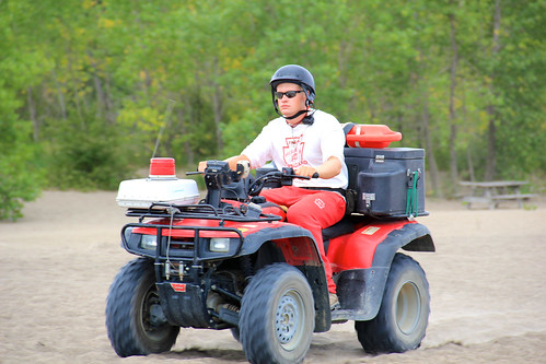 Lifeguard riding ATV on the beaches