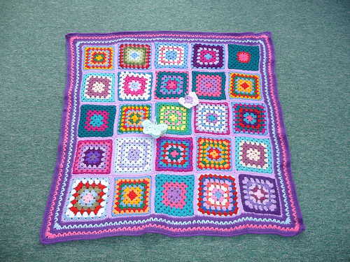 Thanks to everyone that has contributed squares for this blanket. Assembled by jean nock. Thank you very much. It's gorgeous.,