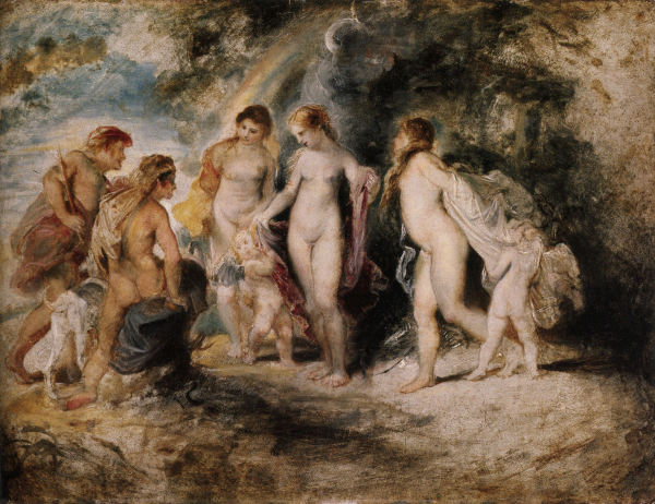 The Judgement of Paris, 1606, Oil on Canvas 340x450mm, Academy of Fine Arts Vienna, Peter Paul Rubens (1577-1640) - Akademie der bildenden Künste Wien