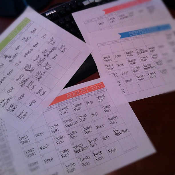 Training plan done. 13 miles are scheduled while I'm at #BlogHer12. I guess I will get up early. #running