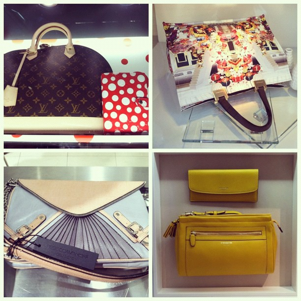#baglovin: a glimpse of the #louisvuiton collaboration with #yayoikusama, #beautiful #floral #longchamp bag dressing the window at #neimanmarcus, #gorgeous #colorblocked #pastel #rebeccaminkoff bag at #saks, #gorgeous #sunshine #yellow bag and wallet with