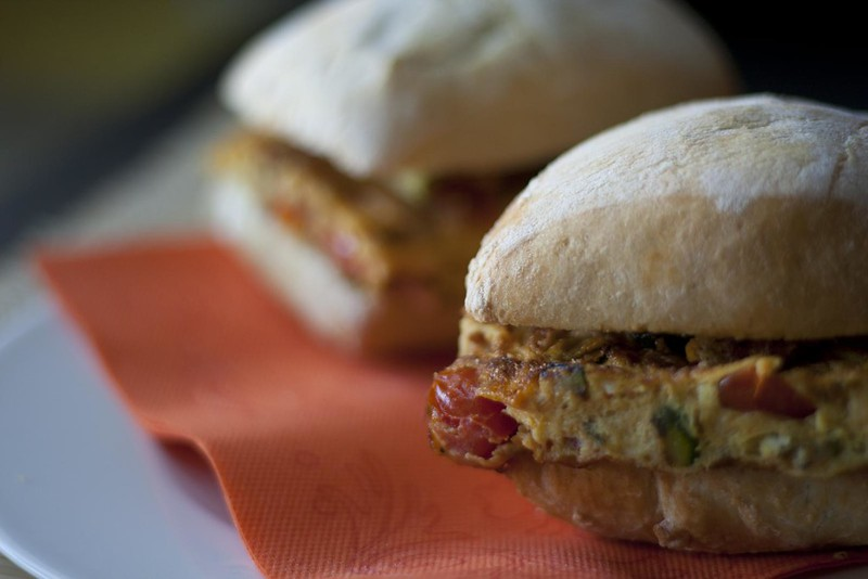 Picnic sandwiches with vegetable italian omelette