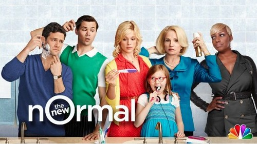 promo photo for The New Normal showing the cast looking in the mirror getting ready in the morning