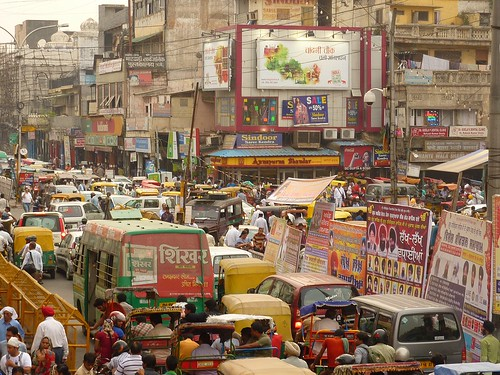 Traffic chaos at Chandni Chowk