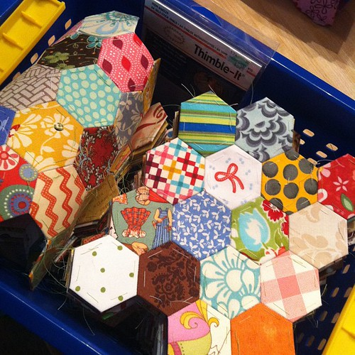 208:365 A basket-full of hexagon sections. Ready to start piecing into a quilt top.