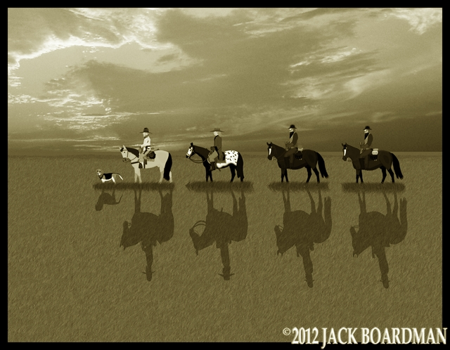 Boomer Hickok & the Derbys riding south on the prairie ©2012 Jack Boardman