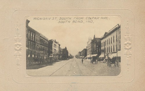 vintage postcard indiana 1910 streetview southbend