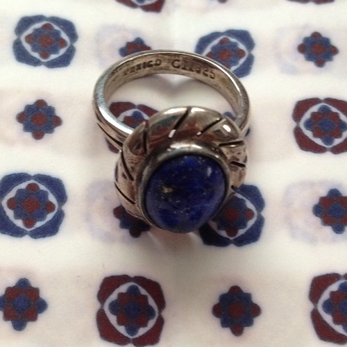 mexican silver blue ring