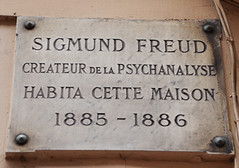 Photo of Sigmund Freud stone plaque