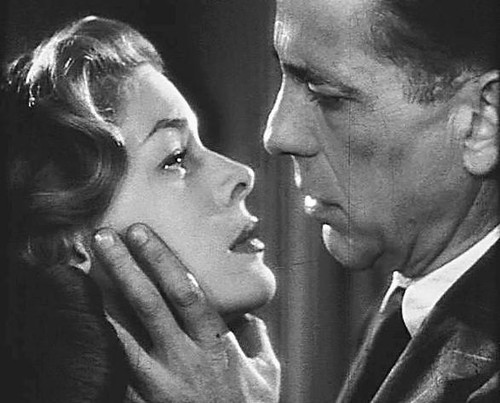 "Public domain photo of Bacall and Bogart from the trailer for ""Dark Passage"""