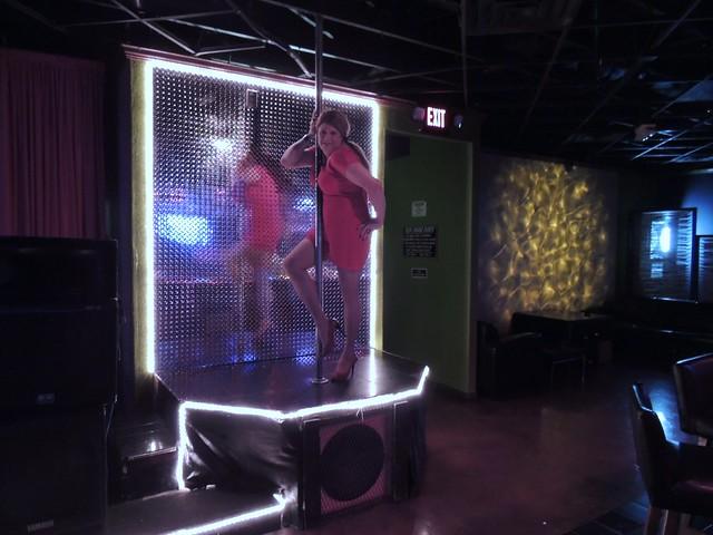 Red Mini Dress and Platform Peep Toe Heels on the Pole to Dance.