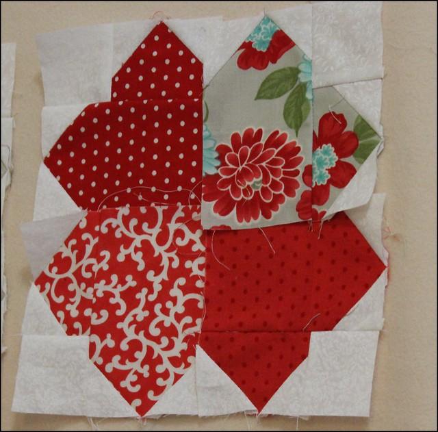 block vintage-modern heart quilt