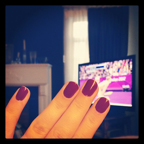 My crazy bright purple nails match the #olympics It wasn't an accident.  #nails #fingerpaints #nailpolish