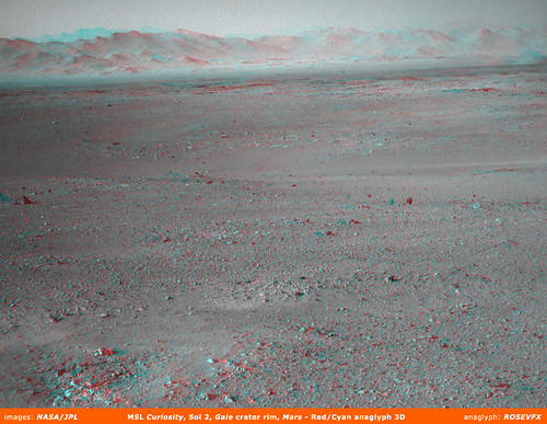 MSL Curiosity: Gale crater rim, red/cyan anaglyph