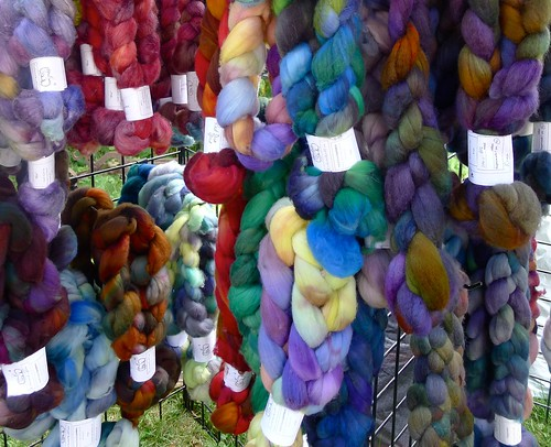 multi-colored wool roving
