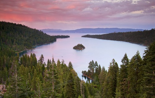 california longexposure pink sunset lake water forest landscape photography laketahoe pastels emeraldbay ernogy