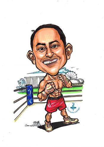 professional boxer caricature