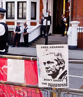 """Don't Shoot the Messenger"" - Julian Assange, Embassy of Ecuador, Knightsbridge, London"