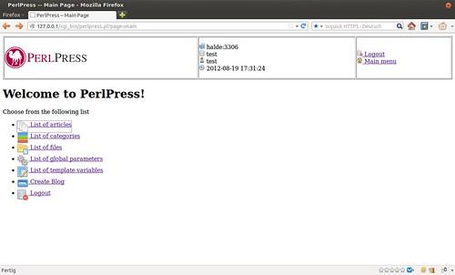 PerlPress Main Menu