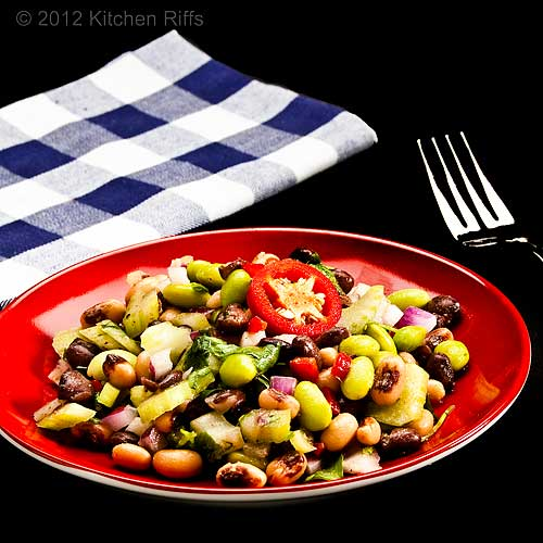 Edamame and Bean Salad on Red Plate with Fork and Napkin