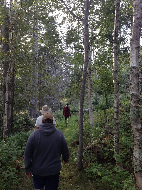 The boys walking the trails of Burnt Island