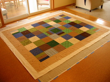 Living room quilt, basting