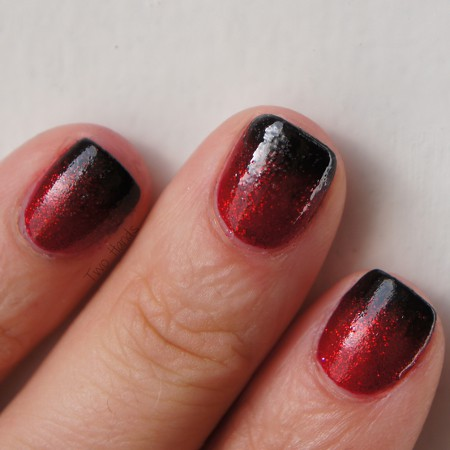 Red To Black gradient nails