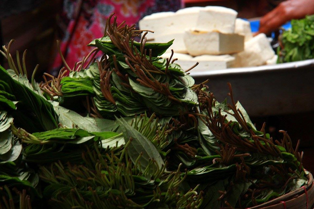 betel leaves bundles being sold at downtown yangon market