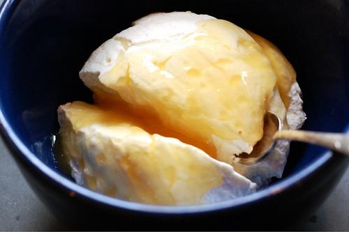 Adding honey to the yogurt by Eve Fox, Garden of Eating blog, copyright 2012