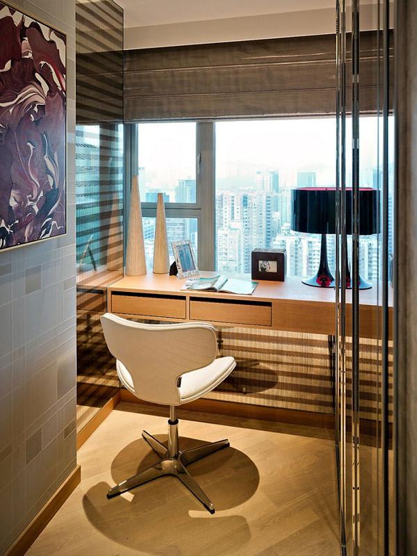 si no se cuenta con mucho espacio para el escritorio se puede optar por hacer un mueble a medida para darle estilo a ste espacio puedes usar papel tapiz