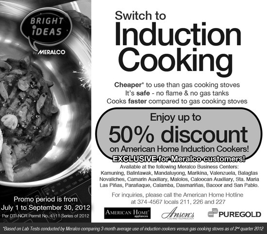 Meralco discounted American Home Induction Cookers