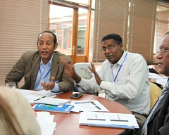 Discussing sites in the Ethiopia Small Ruminant Value Chain Consultative Meeting