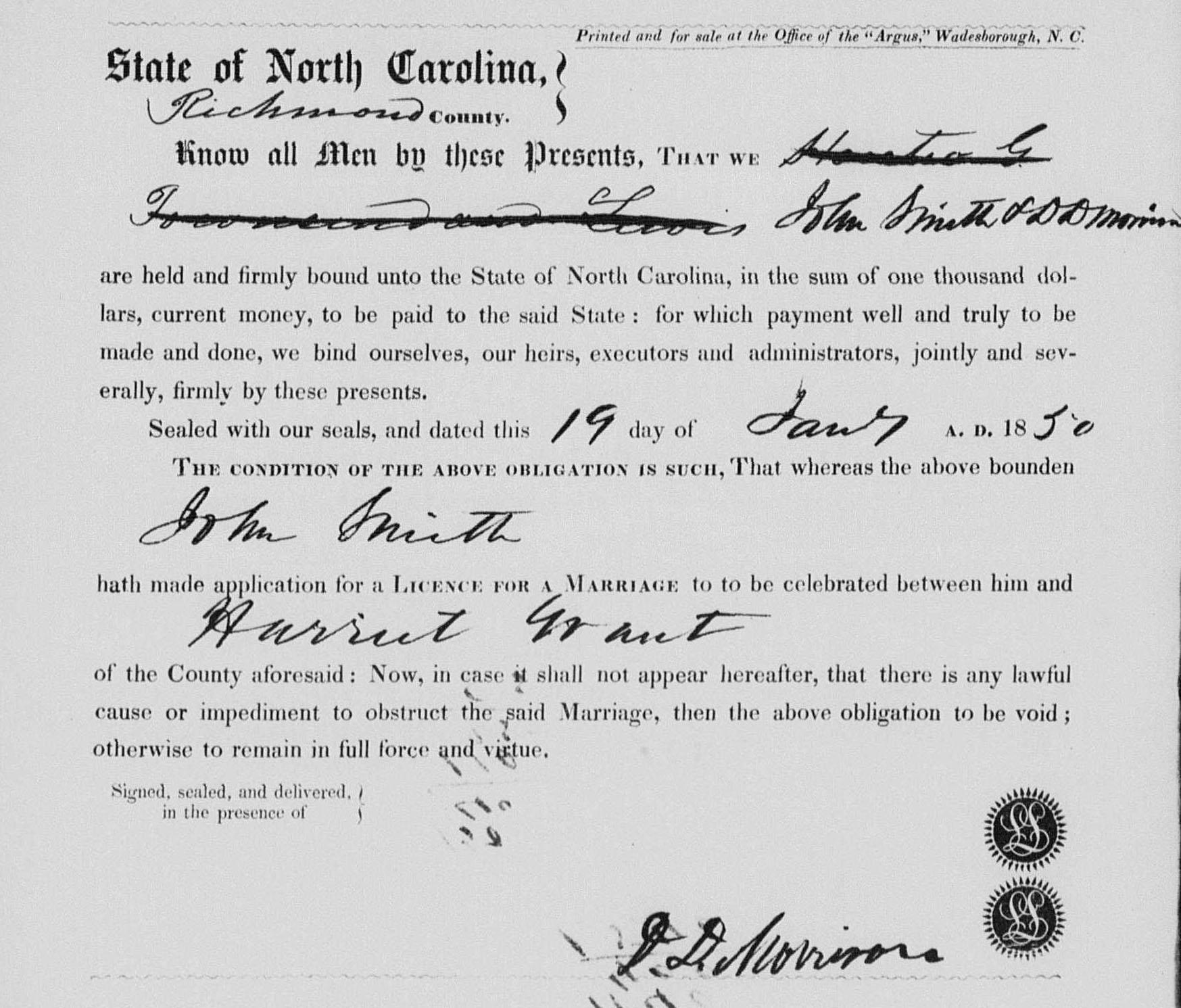 John B Smith and Harriett Lou Grant Marriage