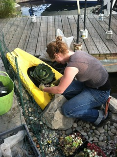 Jade works on Agave planter