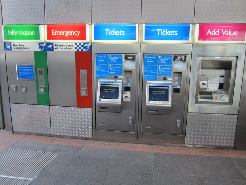 Perth SmartRider and paper ticket vending machines - Esplanade station