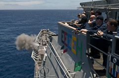 In this file photo, USS Chosin (CG 65) fires a MK 45 5-inch gun during exercise Rim of the Pacific (RIMPAC) 2012. (U.S. Navy photo by Mass Communication Specialist 3rd Class Raul Moreno Jr.)