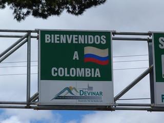 Cartel de Bienvenidos a Colombia (frontera con Ecuador)