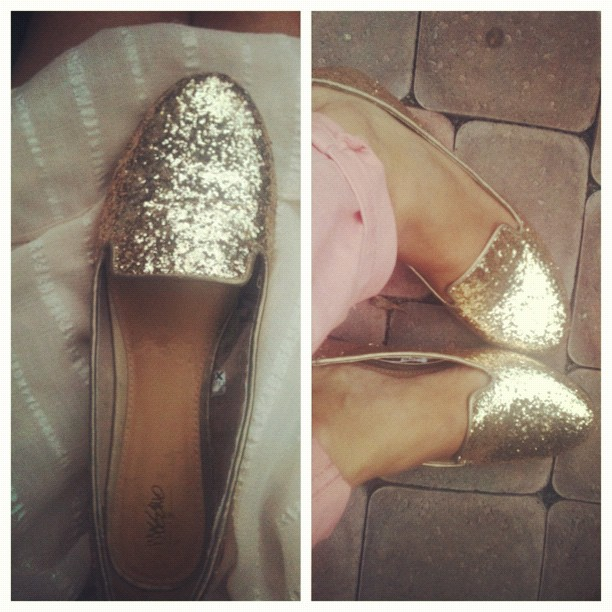 dog eats your gold sandals? show him up by getting gold glitter loafers. BOOM.