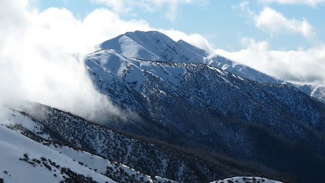 Clouds rise up the Razorback and Mt Feathertop