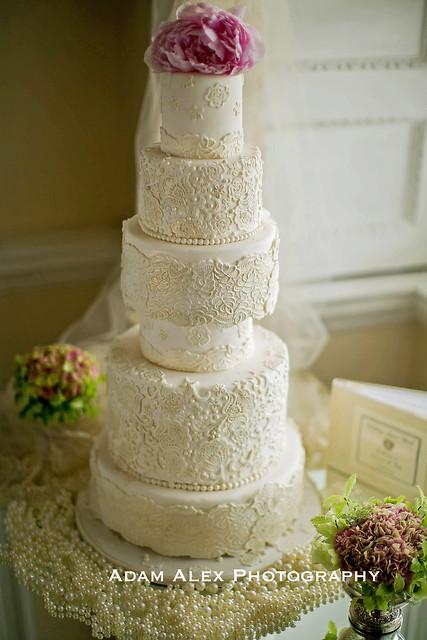 6 Tier Lace Wedding Cake