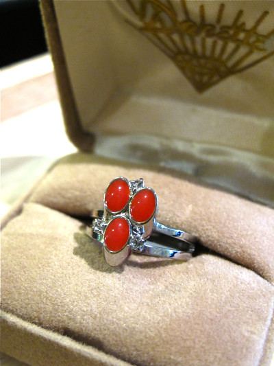 1960s red and silver-tone adjustable ring. New old stock.