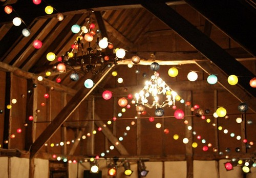 Amazing Lamp Strings Hung From Beams