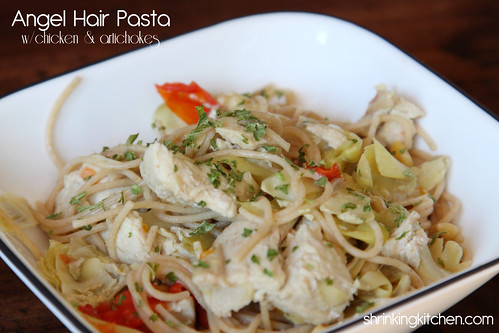 angel hair pasta with chicken and artichokes #shrinkingkitchen #healthy #pasta