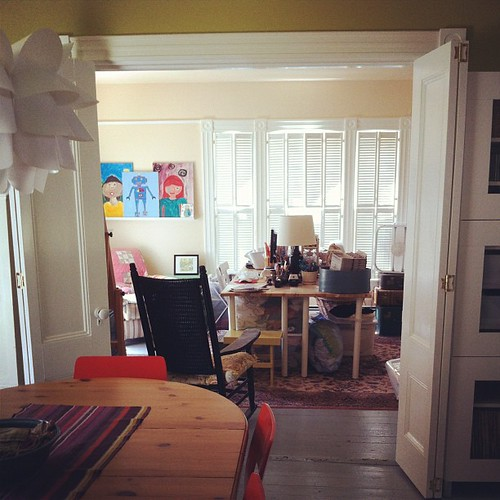 family art room, shutters keep out the sun on a hot summer's day #interiors #home #unschooling #summer