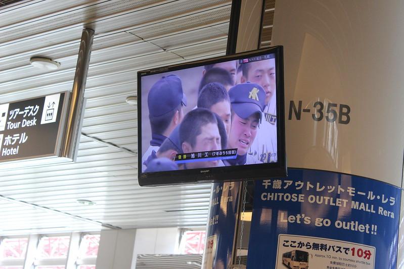 新千歳空港で高校野球観戦 旭川工の優勝
