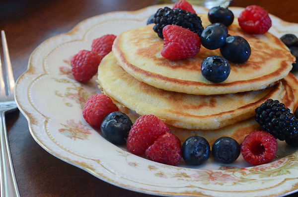 A serving of Mom's Buttermilk Pancakes.