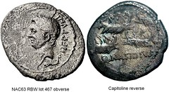 RRC 483/1 Nasidia Denarius (type illustration from 2 different coins) Q.NASIDIVS, head Pompey left, trident, dolphin, Sea battle of four ships, reverse is Capitoline example, obverse is NAC63 RBW lot 467