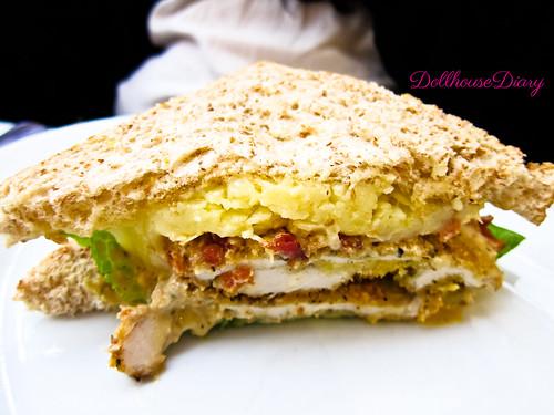 Chicken Caesar Sandwicheese in half
