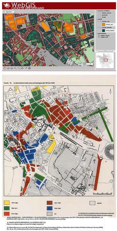ROMA ARCHEOLOGIA - I FORI IMPERIALI e VIA ALESSANDRINA: Le Demolizioni Zona Archeologica dal 1873-1940 (WebGIS CATASTO GREGORINAO / ROMA TRE  (2007-12)] & (Tav. 16 /p. 117, in: AA.VV., VIA DEI FORI IMPERIALI, Venezia [1983]).